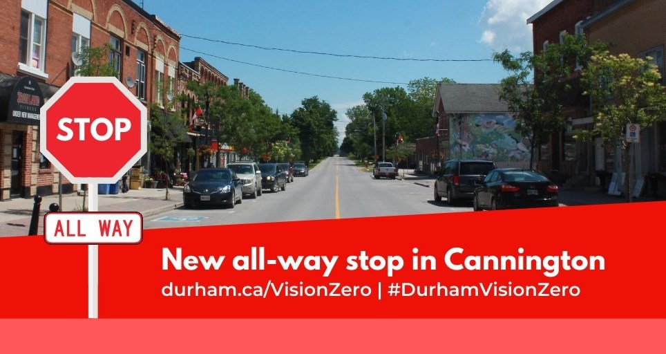 Downtown Cannington. Poster announcing new all-way stop