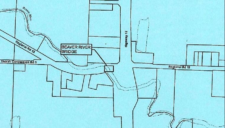 Map of Beaver River Bridge, Beaverton