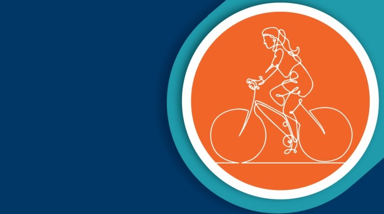 Illustration of woman riding bicycle