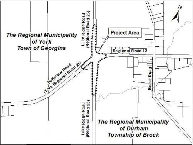 Map of construction zone at Lake Ridge Rd., and Regional Road 12
