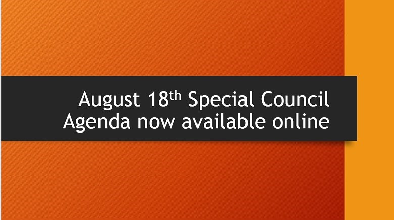 Notification that the Special Council agenda for August 18 is available