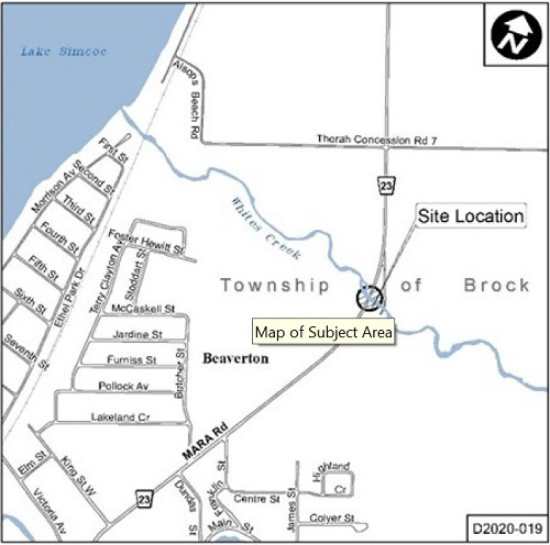 Map of Site Location for White's Creek Bridge Rehabilitation