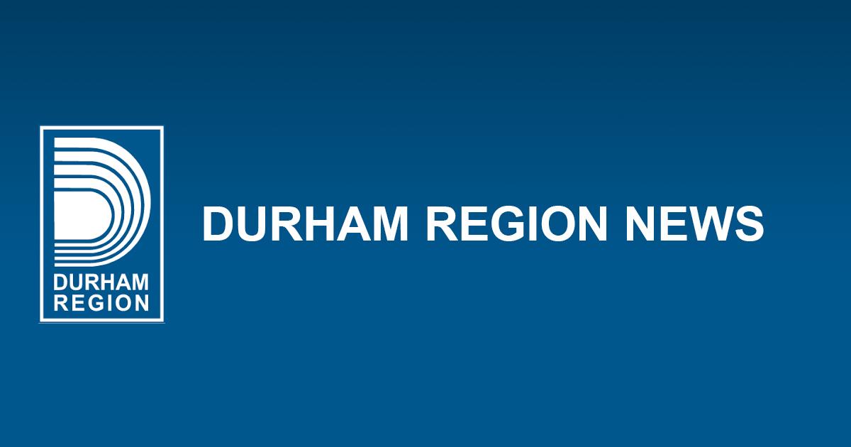 Blue background with Durham Region Logo