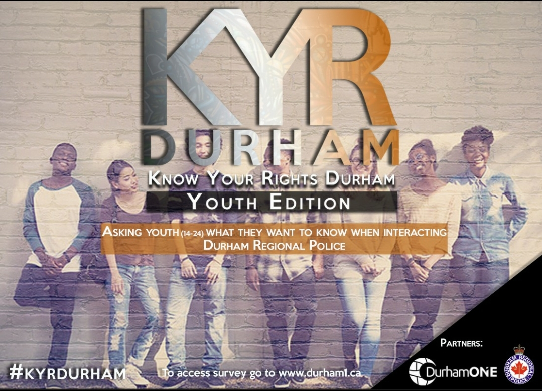 Know your rights durham poster with youth leaning against a wall