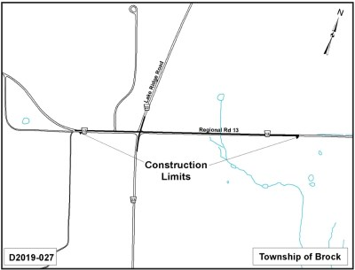 Map of intersection of Regional Road 13 and Lakeridge Road